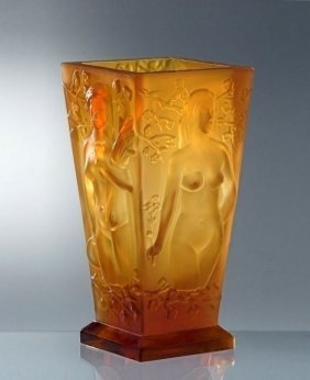 Bohemian Art Deco Amber Glass Large Vase