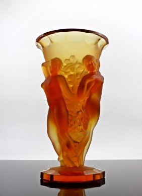 Bohemian Art Deco Amber Glass Large Decorative Vase