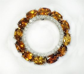 Orange Tourmaline 3.06ct, 14k W/g Pendant 4.85gram /