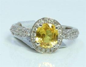 14k White Gold Ring 4.8 Gram Diamond 0.66ct Yellow