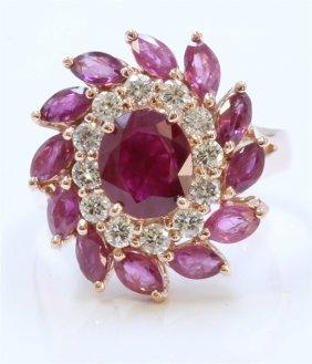 14k Rose Gold Ring 7.6gram Diamond 0.58ct Ruby Mq Small