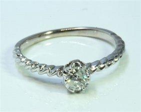 Diamond 0.18 Ct Ring 14kt White Gold 1.39 Gr