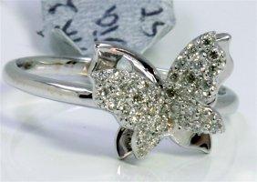 14k Whte Gold Ring 2.60gram Diamond 0.18ct