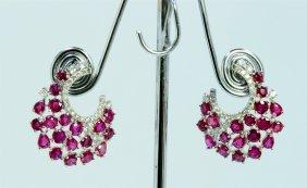 14k White Gold Earring 8.20gram Diamond 0.80ct Ruby