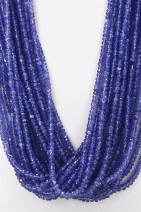 Tanzanite Beaded Necklace Rope 679.00ct Or Over