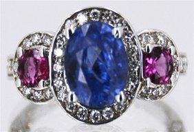 Ceylon Blue Sapphire 4.58 Ctw & Pink Sapphire Diamond