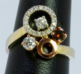 14k White And Rose Gold Ring 6.80gram Diamond 0.60ct /
