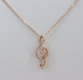14k Rose Gold Music Note Pendant With Chain