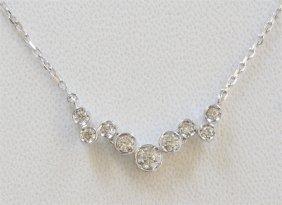 14k White Gold Diamond Pendant With Chain