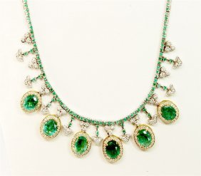 Natural Oval 6pc Center Emerald 18.15ct / Natural