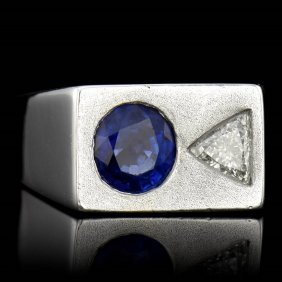 Natural Sapphire 1.50ct, Trillion Cut Diamond 0.60ct