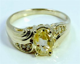Natural Yellow Ceylon Sapphire 1.44ct / Diamond 0.03ct