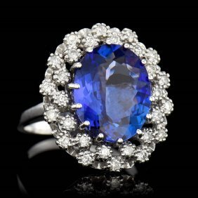 One Center Oval Cut Fine Natural Tanzanite Tw 6.65cts