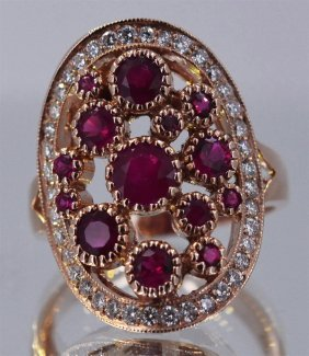 Natural Ruby 2 Ctw Diamond Cluster Ring 14krgold