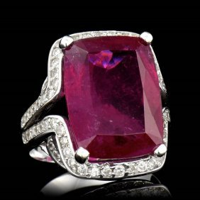 One Center Cushion Cut Rubellite Tourmaline Tw 15.26cts