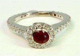 Ruby 0.98ct / Diamond 1.11 Ct / 14k White Gold Ring