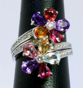 14k White Gold Ring 8.90 Gram Diamond 0.64ct Pink