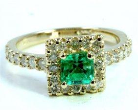 Natural Columbian Emerald 0.54ct / Diamond 0.62ct / 14k