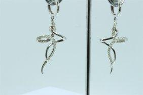 14k White Gold Earring 5.67gram Diamond 0.54ct