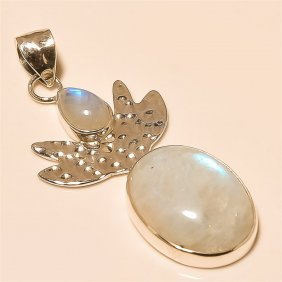 Moon Stone Pendant Solid Sterling Silver