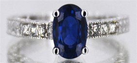 Ceylon Sapphire W/ Diamond Ring 1.65ct