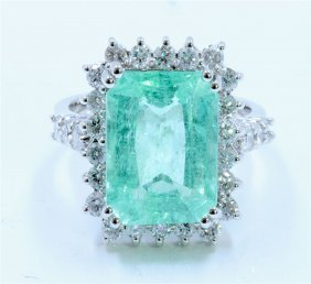 Copper Bearring Paraiba Tourmaline 6.15ct, 14k W/g Ring