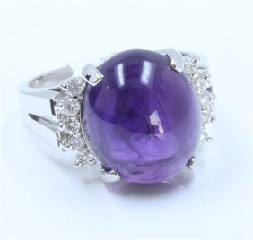 14k White Gold Amethyst