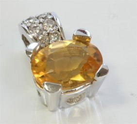 14k White Gold Pendant:3.4g/diamond:0.23ct/citrine