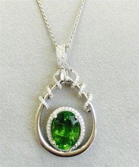 Peridot 18.73ct, 14k W/g Necklace _______ Diamond