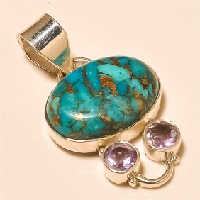 Copper Turquoise/amethyst Pendant Solid Sterling Silver