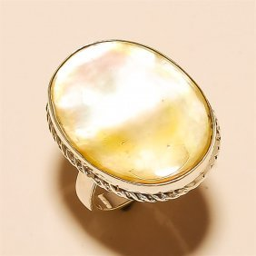 Mother Of Pearl Ring Solid Sterling Silver