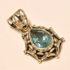 Blue Topaz Pendant Solid Sterling Silver