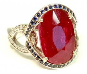 Ruby 8.45ct / Blue Sapphire 0.43ct / Diamond 0.40ct /