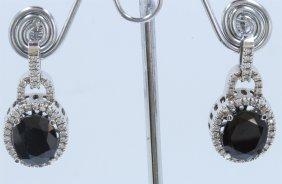14k White Gold Earring:11g/diamond:0.75ct/blue
