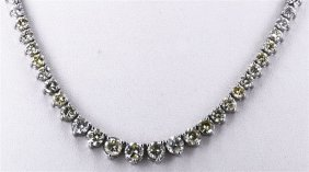 Yellow Fancy Diamond 9.18ctw Necklace 14kw
