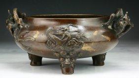 A Chinese Antique Gilt-splashed Bronze Censer