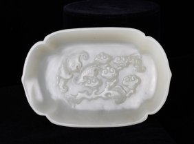Qing Dynasty Jade Carved Haitang Formed Coupe