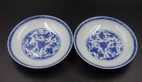 Chinese Blue White Plate Qianlong Mark &period