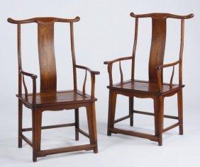 (2) Late 19thc. Huanghuali Yoke-back Armchairs
