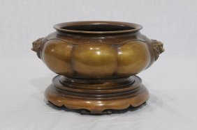 Chinese Bronze Incense Burner With Mark On