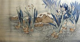 Chinese Hand-coloured Print Depicting Flowering Water