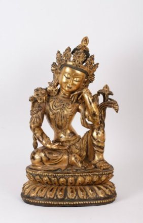 Chinese Ming Style Gilt Bronze Seated Buddha