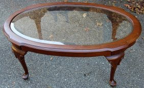 Ethan Allen Beveld Glass Top Coffee Table