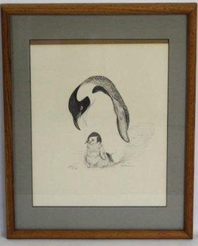 """Framed Penguin Litho Signed """"susan"""""""