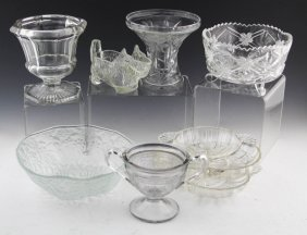 (8) Mixed Pieces Of Pressed Glassware