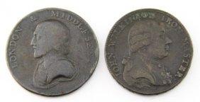 (2) 18th C England Half Penny & Wilkinson Token