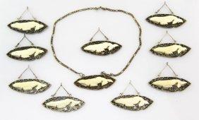 Lot Of Ten Sterling Silver & Bone Whale Pendants