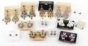 Lot Of Costume Jewelry Austrian Crystal Earrings