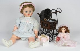 Lot Of Three Dolls And Accessories