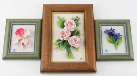 Lot Of Three Capodimonte Porcelain Framed Flowers